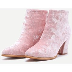 SheIn(sheinside) Diamond Velvet Pink Point Toe Chunky Heel Booties (€42) ❤ liked on Polyvore featuring shoes, boots, ankle booties, high heel booties, high heel winter boots, chunky booties, pink booties and chunky heel ankle booties