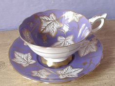Antique Royal Stafford Purple tea cup and saucer, English bone china teacup…