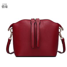 XIYUAN BRAND women luxury and fashion summer spring autumn Shell cow Genuine Leather red shoulder cross body bag messenger bags #Affiliate