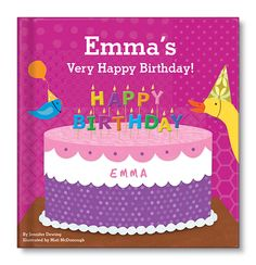 My Very Happy Birthday Book for girls.  Adorable animals prepare a special birthday party and cake for your little girl in this personalized book with durable board pages.  www.iseeeme.com