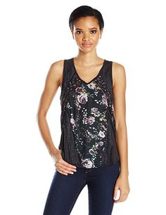 Taylor and Sage Women's Printed Floral Lace Trim Tank, Tar, Small ** Buy now: http://amzn.to/2iJ03iC