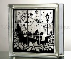 Dashing through the snow Glass Block Decal by VinylDecorBoutique