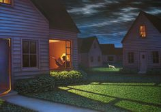 Night Lights, 2007 by Leonard Koscianski Arte Lowbrow, Nature Sketch, Film Inspiration, Environment Concept Art, Fantasy Landscape, Landscape Photos, Art For Art Sake, Cool Art, Contemporary Art