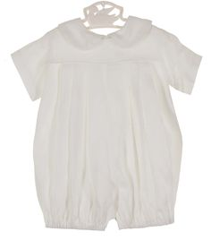 NEW Lullaby Set White Linen Romper with Pleated Front $60.00 #BabyBoysLinenRomper #BabyBoysChristeningRomper