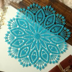 Doily crochet doily doilies  Round dark  turquoise doily Crocheted doily Lace doily table decor