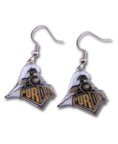 Aminco Purdue Boilermakers Logo Drop Earrings