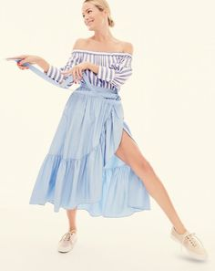 Thomas Mason® for J.Crew women's off-the-shoulder striped top, ruffle wrap skirt in poplin and Seavees® for J.Crew satin Legend sneaker.