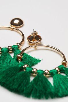 Круглые серьги с кистями - Зеленый - Женщины   H&M RU 2