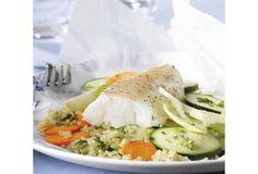 Papillot van kabeljauw met groenten, quinoa met kruiden