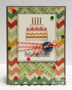 "denamiaddict.blogspot.com: 3 Twenty Crafts - day 5 blog hop - ""say it in spanish"" - birthday card using spanish language stamps"