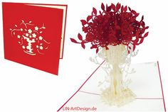 Aufklappbare POP UP Geburtstagskarte mit Rosen in Vase. Mehr entdecken auf: www.lin-popupkarten.de Pop Up 3d, Pop Up Karten, Flag, Paper, Flowers, Gift Cards, Holiday, Birth, Mariage