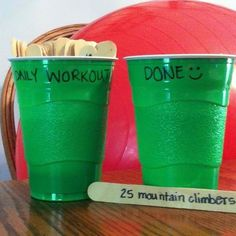 Write a different exercise on each stick, do 5 a day and move them to the other cup, then move them all back at the end of the week. Great way to switch up your workouts!