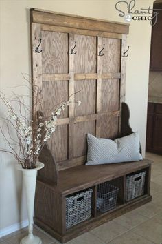 Homemade Robust Wooden Hall Tree - 50 DIY Furniture Projects with Step by Step Plans - DIY & Crafts