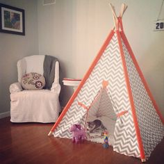 "Chevron Tent with Solid Sleeves 44"" Size or Pick your color Teepee play fort Made to Order Tents"