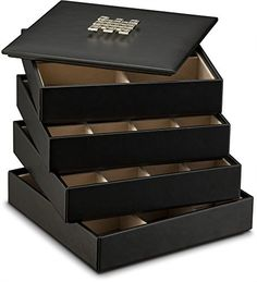 Three Layers Velvet Ring Cufflinks Jewelry Display Tray Stand Holder Box