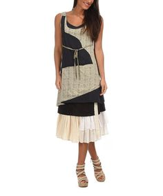 Another great find on #zulily! Dark Gray & Beige Patchwork Sleeveless Dress #zulilyfinds