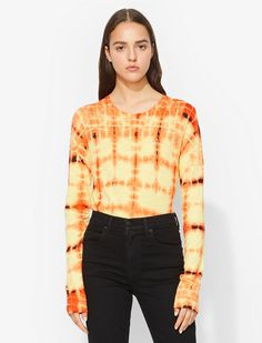 Proenza Schouler draw inspiration from contemporary art and youth culture for their collections. Made from superfine Japanese cotton, this T-shirt features a custom developed tie-dye print, a crew neck, long sleeves and a straight fit. Tie Dye Long Sleeve, Long Sleeve Crop Top, Long Sleeve Shirts, Brown Tie, Japanese Sleeve, Japanese Cotton, Tye Dye, Proenza Schouler, Teen Fashion