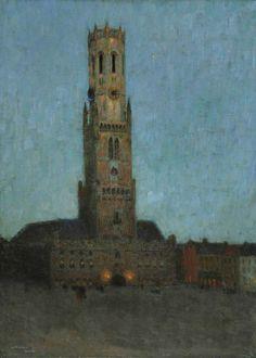 The Belfry at Bruges, Belgium, by Henri Le Sidaner (French Edouard Vuillard, Manet, Impressionist Landscape, Post Impressionism, Landscape Paintings, Landscapes, Maurice Denis, Paul Gauguin, Henri Matisse