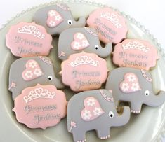 Pretty elephant cookies by miss biscuit baby shower desserts, baby shower cupcakes, torta baby Baby Cookies, Baby Shower Cupcakes, Baby Shower Fun, Shower Cakes, Baby Shower Parties, Baby Shower Themes, Baby Boy Shower, Baby Shower Decorations, Shower Ideas