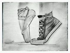 Ballet shoes converse - this describes me so well. Ballet Shoes Drawing, Ballerina Drawing, Ballet Drawings, Dancing Drawings, Ballet Art, Cool Drawings, Drawing Sketches, Pencil Drawings, Shoe Drawing