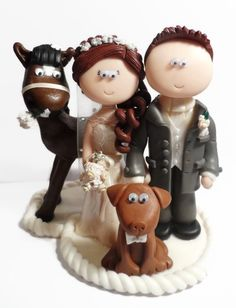 Bride & Groom with their horse and dog. My work is NOT edible, I send anywhere in the world and all figurines are handmade from scratch to look like the people getting married, any outifts or poses you want.