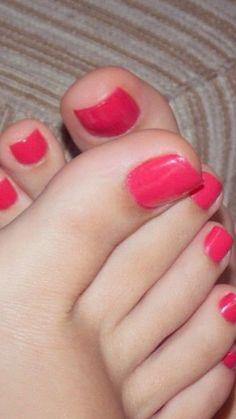 Gel Toe Nails, Gel Toes, Cute Toe Nails, Cute Toes, Pretty Toes, Toe Nail Color, Nail Colors, Orange Toe Nails, Pink Pedicure
