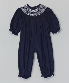 Look at this Navy Smocked Corduroy Playsuit - Infant