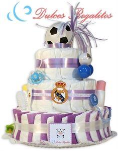 Tarta de pañales Futbol Real Madrid  Alá Madrid, titititi, Alá Madrid, titititi Para pequeños merengues!!