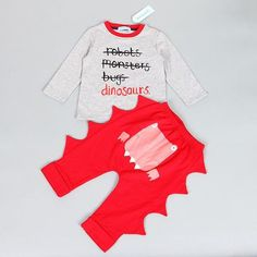 Gallity Infant Baby Boy Girl Christmas Outfit My First Christmas Romper Bodysuit Onesies Dinosaur Pants Hat Fall Clothes 0-3 Months, Red