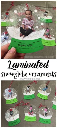 Laminated snowglobe ornaments for kids to make for Christmas gifts/crafts! You can personalize them! Kids Crafts, Toddler Crafts, Preschool Crafts, Party Crafts, Kids Diy, Creative Crafts, Creative Ideas, Infant Crafts, Snow Crafts