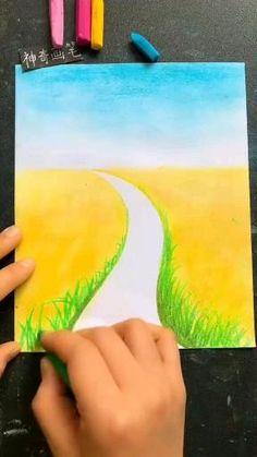 Oil Pastel Drawings Easy, Oil Pastel Paintings, Drawing With Pastels, Oil Pastels, Art Drawings Beautiful, Art Drawings For Kids, Canvas Painting Tutorials, Diy Canvas Art, Soft Pastel Art