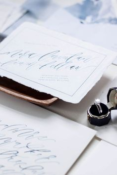 Navy Blue Calligraphy Elopement Celebration Invitations by Design House of Moira / Oh So Beautiful Paper