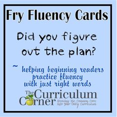 Fry Fluency Cards for the fourth hundred words.  These are great for helping students build fluency while practicing basic sight words.  FREE from www.thecurriculumcorner.com.