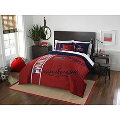 3 Piece Kids Central St Louis Cardinals Missouri Busch Stadium Full Comforter Set Blue Red Sports Collegiate Bedding Cardinals Merchandise Team Spirit Baseball Themed Major League Baseball * You can find more details by visiting the image link.