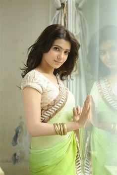 Hot Actress Samantha Prabhu Hot Green Saree Photo Shoot