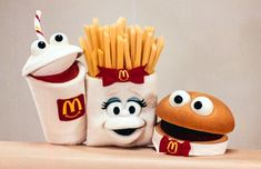 The 1996 redesigned McDonald's Happy Meal Puppets, created by puppeteers Tony Urbano and Tim Blaney, based on art director Rich Seidelman's rough concept drawings.  Hamburger, French Fries, Soft Drink Puppets. McDonaldland. Soft Drink, Retro Recipes, Retro Illustration, Mc Donalds, Hamburger, French Fries, Vintage Ads, My Childhood, 80s Fashion