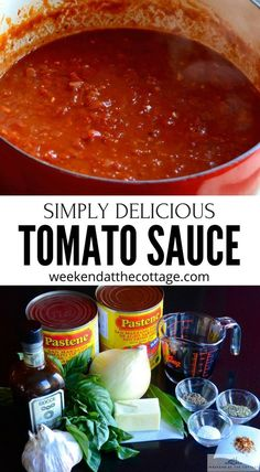 Make this RICH TOMATO SAUCE once, then start thinking about all the recipes you'll be able to use it in. It's the perfect culinary basic. Serve it on pasta, add meat and veggies or freeze it for later! Pizza Recipes, Sauce Recipes, Easy Dinner Recipes, Vegetarian Recipes, Cooking Recipes, Healthy Recipes, Dinner Ideas, Homemade Spaghetti Sauce, Homemade Tomato Sauce