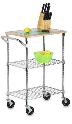 Chrome Kitchen Cart with Cutting Board, Chrome/Wood. Brilliant chrome finish and contemporary design makes this unit the perfect blend of good looks and functionality. Its sturdy, commercial quality frame has a grid-style thick wire shelves, hardwood cu Rolling Kitchen Cart, Rolling Storage Cart, Storage Trolley, Tool Storage, Wire Shelving, Adjustable Shelving, Shelving Units, Bungalow, Microwave Cart