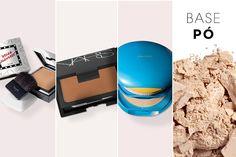 As bases em pó são indicadas para quem tem pele normal e oleosa, conferindo um efeito mate e de longa duração.