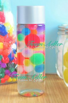 Our Floating Pom Poms Sensory Bottle is a fun relaxation tool with personality. Shake the smooth bottle and watch as the colorful pom poms swirl and float in the bottle. Tilt the bottle up and down and watch the ingredients whirl around. Time spent using the Floating Pom Poms Sensory Bottle can aid in mind redirection which can be useful with teaching children and adults to regulate their emotions. Playing with this bottle may help to relieve anxiety as well.