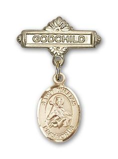 14K Gold Baby Badge with Cross Charm and Polished Badge Pin