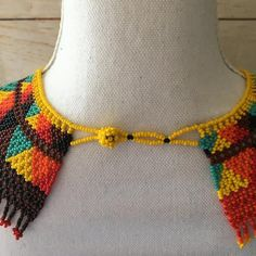 Your place to buy and sell all things handmade Crochet Necklace, Beaded Necklace, Mexican Jewelry, Bohemian Necklace, Collar Necklace, Handmade Necklaces, Rainbow Colors, Jewelry Gifts, Beautiful