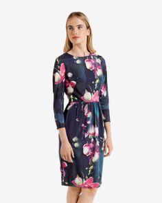 Fuchsia Floral printed dress - Dark Blue | Dresses | Ted Baker UK