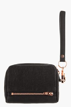 ALEXANDER WANG Large Black & Rose-Gold Leather Fumo Wristlet Wallet