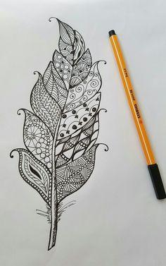 Feather Drawing, Mandala Drawing, Doodle Patterns, Zentangle Patterns, Zen Doodle, Doodle Art, Doodles Zentangles, Doodle Drawings, Pencil Drawings