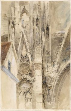 yama-bato:  John Ruskin (1819-1900) Entrance to the South Transept  of Rouen Cathedral  1854 link