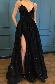 spaghetti straps black sparkle long prom dresses with pockets v neck sequins sli. - spaghetti straps black sparkle long prom dresses with pockets v neck sequins slit women Source by -