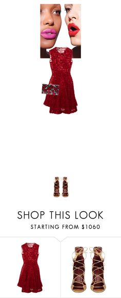 """""""Gair #4066"""" by canlui ❤ liked on Polyvore featuring Giambattista Valli, Isabel Marant, Charlotte Olympia, floral, red, lace and floraldress"""
