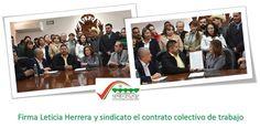 Firma Leticia Herrera y sindicato el contrato colectivo de trabajo