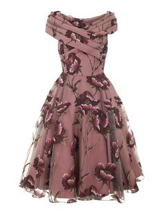 Dorothy Tulle Winter Floral Swing Dress 0